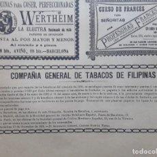 Collectionnisme d'affiches: COMPAÑIA GENERAL DE TABACOS DE FILIPINAS OBLIGACIONES 2 HOJAS AÑO 1891. Lote 276144468