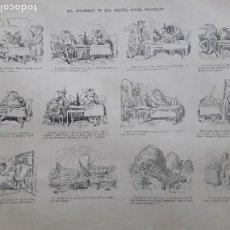 Collectionnisme d'affiches: EL POBRE Y EL RICO POR BUSCH VIÑETA HUMORISTICA AUCA HOJA AÑO 1891. Lote 276145053