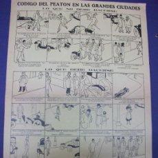 Colecionismo de cartazes: ALELUYA AUCA - CODIGO DEL PEATON EN LAS GRANDES CIUDADES LO QUE NO DEBE HACERSE - COCHES AUTOMOVIL. Lote 276267698