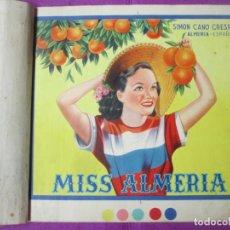Colecionismo de cartazes: CARTEL ITO ETIQUETA NARANJAS MISS ALMERIA SIMON CANO CRESPO PRUEBA IMPRENTA COMPLETA 9 HOJAS. Lote 276685163