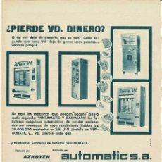 Collectionnisme d'affiches: PUBLICIDAD MÁQUINAS AUTOMÁTICAS VENTAMATIC Y BABYMATIC DE AZKOYEN. Lote 277029978