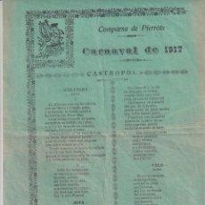 Coleccionismo de carteles: COMPARSA DE PIERROTS CARNAVAL DE 1917 CASTROPOL. IMP CASTROPOL. Lote 277614223