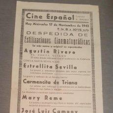Coleccionismo de carteles: CARTEL CINE ESPAÑOL 1943 DESPEDIDA DE ESTILIZACIONES CINEMATOGRÁFICAS CON ESTRELLITA SEVILLA. Lote 277617778