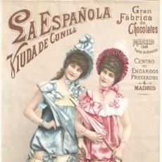 Colecionismo de cartazes: LA ESPAÑOLA GRAN FÁBRICA DE CHOCOLATES VIUDA DE CUNILL NOTA DE PRECIOS 180 MM. X 290 MM.. Lote 279372423