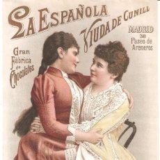 Colecionismo de cartazes: LA ESPAÑOLA GRAN FÁBRICA DE CHOCOLATES VIUDA DE CUNILL NOTA DE PRECIOS 180 MM. X 290 MM.. Lote 279372548