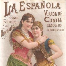 Colecionismo de cartazes: LA ESPAÑOLA GRAN FÁBRICA DE CHOCOLATES VIUDA DE CUNILL NOTA DE PRECIOS 180 MM. X 290 MM.. Lote 279372688