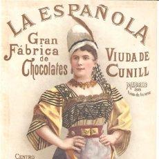 Colecionismo de cartazes: LA ESPAÑOLA GRAN FÁBRICA DE CHOCOLATES VIUDA DE CUNILL NOTA DE PRECIOS 180 MM. X 290 MM.. Lote 279372928