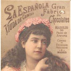 Colecionismo de cartazes: LA ESPAÑOLA GRAN FÁBRICA DE CHOCOLATES VIUDA DE CUNILL NOTA DE PRECIOS 180 MM. X 290 MM.. Lote 279373143
