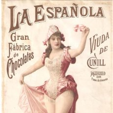 Colecionismo de cartazes: LA ESPAÑOLA GRAN FÁBRICA DE CHOCOLATES VIUDA DE CUNILL NOTA DE PRECIOS 180 MM. X 290 MM.. Lote 279373318