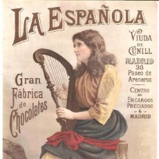 Colecionismo de cartazes: LA ESPAÑOLA GRAN FÁBRICA DE CHOCOLATES VIUDA DE CUNILL NOTA DE PRECIOS 180 MM. X 290 MM.. Lote 279373628