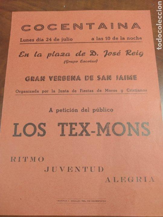 COCENTAINA ALICANTE GRAN VERBENA DE SAN JAIME. (Coleccionismo - Carteles Pequeño Formato)