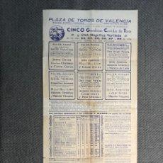 Coleccionismo de carteles: CARTEL, VALENCIA PLAZA DE TOROS. CINCO GRANDIOSAS CORRIDAS DE TOROS , PLAZA DE TOROS (A.1956). Lote 280729898