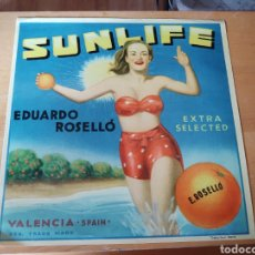 Coleccionismo de carteles: CARTEL CAJA NARANJAS. SUNLIFE VALENCIA. EDUARDO ROSELLÓ. Lote 283398423