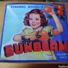 Coleccionismo de carteles: CARTEL SUNBEAM NIÑA NARANJAS. EDUARDO ROSELLÓ. VALENCIA. ETIQUETA CAJA NARANJAS.. Lote 283400398