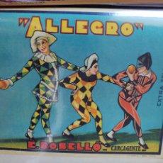 Coleccionismo de carteles: ETIQUETA PARA EXPORTACIÓN DE NARANJAS. E. ROSELLÓ. ALLEGRO. Lote 283400948
