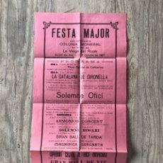Collectionnisme d'affiches: CARTEL FESTA MAJOR 1927 / COLONIA MONEGAL / GIRONELLA / LA VERGE DEL ROSER. Lote 284484343