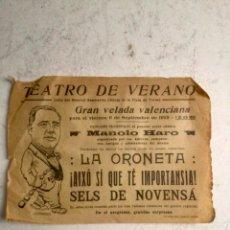 Coleccionismo de carteles: ANTIGUO PROGRAMA DE TEATRO EN VALENCIA 1929 - TEATRO DE VERANO CALLE GENERAL SANMARTIN. Lote 285272663