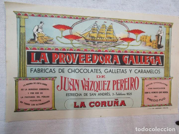 GALICIA - CARTEL MODERNISTA CHOCOLATE ' LA PROVEEDORA GALLEGA ' 30X18CM LA CORUÑA, ORIGINAL + INFO (Coleccionismo - Carteles Pequeño Formato)