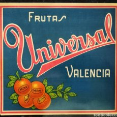Collectionnisme d'affiches: FRUTAS UNIVERSAL, VALENCIA - AÑOS 50 - 60 - 1 CARTEL : 24 CM X 22 CM - NARANJAS MIKE - PJRB. Lote 287953128