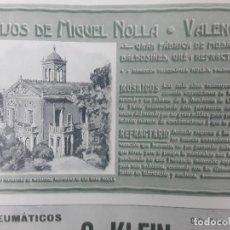 Collectionnisme d'affiches: GRAN FABRICA MOSAICOS BALDOSINES GRE Y REFRACTARIO MIGUEL NOLLA VALENCIA HOJA AÑO 1906. Lote 287955993