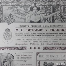 Collectionnisme d'affiches: FABRICA MOSAICOS HIDRAULICOS M.G BUTSEMS Y FRADERA BARCELONA HOJA AÑO 1906. Lote 287956343