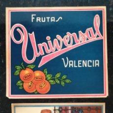 Collectionnisme d'affiches: FRUTAS UNIVERSAL, VALENCIA - AÑOS 50 - 60 - 2 CARTELES : 24 CM X 22 CM - PJRB. Lote 287956783