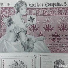 Collectionnisme d'affiches: PAVIMENTOS ARTISTICOS DE MOSAICOS HIDRAULICOS ESCOFET Y Cª BARCELONA HOJA REVISTA AÑO 1906. Lote 287957598