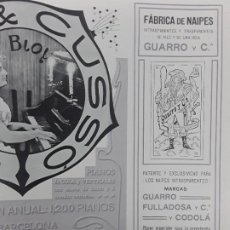 Collectionnisme d'affiches: FABRICA DE NAIPES INTRANSPARENTES TRANSPARENTES HILO Y UNA HOJA GUARRO Y Cª BARCELONA HOJA AÑO 1906. Lote 288112318
