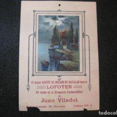 Coleccionismo de carteles: ACEITE DE HIGADO DE BACALAO LOFOTEN-JUAN VILADOT-FARMACIA-CARTEL PUBLICIDAD-VER FOTOS-(K-4156). Lote 289009133