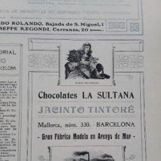 Coleccionismo de carteles: CHOCOLATES LA SULTANA JACINTO TINTORE BARCELONA FABRICA EN ARENYS DE MAR HOJA AÑO 1907. Lote 289477983