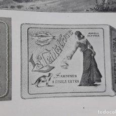 Coleccionismo de carteles: FABRICA DE CONSERVAS VICENTE COMA VIGO LA TENTATRICE SARDINES A L'HUILE EXTRA HOJA AÑO 1907. Lote 289478328