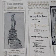 Coleccionismo de carteles: GRANDES TALLERES MARMOLES .EL PROGRESO INDUSTRIAL BARCELONES DE ALEXANDRE GIOAN HOJA AÑO 1907. Lote 289478703
