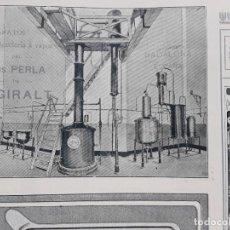 Coleccionismo de carteles: APARATOS DESTILERIA A VAPOR ANIS PERLA DE J.GIRALT BADALONA HOJA AÑO 1907. Lote 289479403