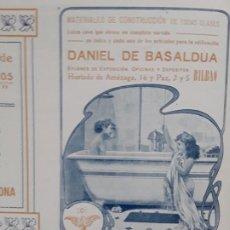Coleccionismo de carteles: MATERIALES DE CONSTRUCCION DE TODAS CLASES DANIEL DE BASALDUA BILBAO HOJA AÑO 1907. Lote 289490253