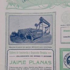 Coleccionismo de carteles: TALLERES CONSTRUCCION Y REPARACION MECANICA CALDERERIA COBRE HIERRO JAIME PLANAS BARCELONA AÑO 1907. Lote 289490503
