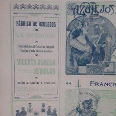 Coleccionismo de carteles: FABRICA DE AZULEJOS LA MODERNA VICENTE ALMELA REMOLAR CASTELLON DE LA PLANA HOJA AÑO 1907. Lote 289492148