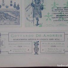 Coleccionismo de carteles: ESTABLECIMIENTOS ARTISTICOS DE LITOGRAFIA SOBRE METAL GOTTARDO DE - ANDREIS BADALONA AÑO 1907. Lote 289492238
