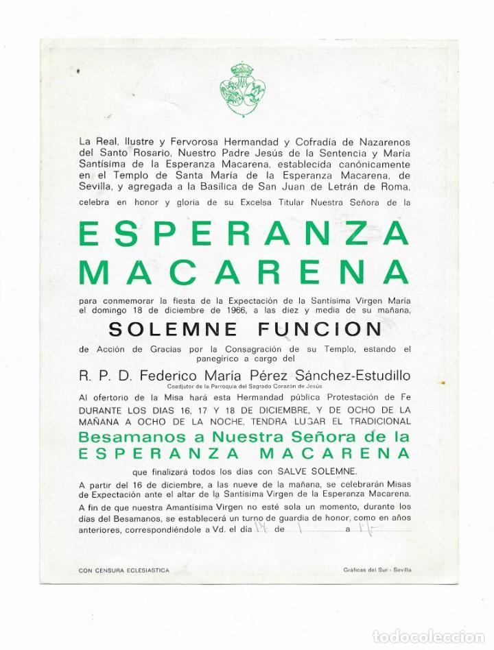 Coleccionismo de carteles: CARTEL ANTIGUA- ESPERANZA MACARENA- DOMINGO 18 DE DICIEMBRE DE 1966 - MIDE 22 X 17 CM - Foto 2 - 289725163