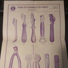 Coleccionismo de carteles: PUBLICIDAD DE . VIUDA DE DOMINGO DE PABLO .BURGOS. Lote 289737848