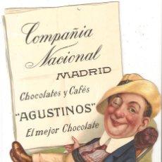 Coleccionismo de carteles: MADRID.CARTEL PUBLICITARIO CARTÓN TROQUELADO.COMPAÑÍA NACIONAL. CHOCOLATES Y CAFÉS.185 MM. X 282 MM.. Lote 290904253