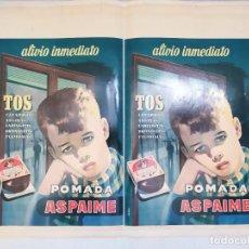 Coleccionismo de carteles: POMADA ASPAIME PARA LA TOS. DIBUJANTE DANIS. CARTEL DOBLE. MARCAS DE HABER ESTADO DOBLADO.. Lote 291989363