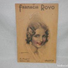 Coleccionismo de carteles: ANTIGUO ALMANAQUE, CALENDARIO, FARMACIA ROYO, VALENCIA, ILUSTRACION J.BARREIRA, ORIGINAL, 46 X 31 CM. Lote 293151923