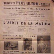 Coleccionismo de carteles: TEATRO PLUS ULTRA. MANISES, 1952. PRESENTACIÓN FALLERA. Lote 293222913