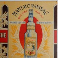 Coleccionismo de carteles: BONBONS PARFUMÉS AU MANTALO GRANDE LIQUEUR DE MENTHE BLANCHE - RAISSAC & CIE. Lote 293445848