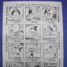 Colecionismo de cartazes: ALELUYA EL AUCA DE DON SIMPLICIO BAÑOS PUPULARES DE BARCELONA PUBLICIDAD DESPORTES. Lote 293742683