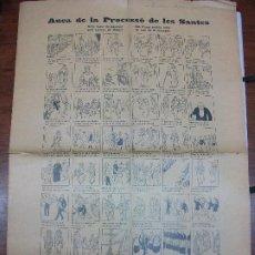 Colecionismo de cartazes: ALELUYA AUCA DE LA PROCESSÓ DE LES SANTES - DIBUJO VIDIELLA MATARO C. 1930 PROCESION SANTOS RELIGION. Lote 293747068