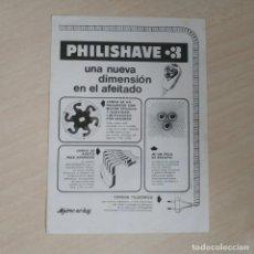 Coleccionismo de carteles: PHILISHAVE FOLLETO DE PUBLICIDAD (15,5 X 11,0 CENTIMETROS) AÑOS 60 MUY RARO - VER FOTOS - COMO NUEVO. Lote 293773498
