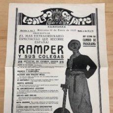 Collezionismo di affissi: TEATRO GAYARRE PAMPLONA. CIRCO RAMPER Y SUS COLEGAS. 16 DE ENERO DE 1935. Lote 295030288