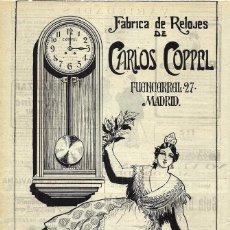 Coleccionismo de carteles: 1919 HOJA REVISTA PUBLICIDAD ANUNCIO FÁBRICA DE RELOJES DE CARLOS COPPEL. Lote 296609823