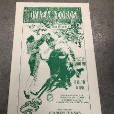 Coleccionismo de carteles: CARTEL PLAZA DE TOROS CORDOBA. FERIA DE MAYO 1982. CAMPUZANO - ESPARTACO - EL SORO. Lote 296621763